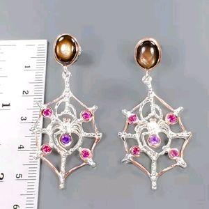 Black star Sapphire & Amethyst spider web earrings